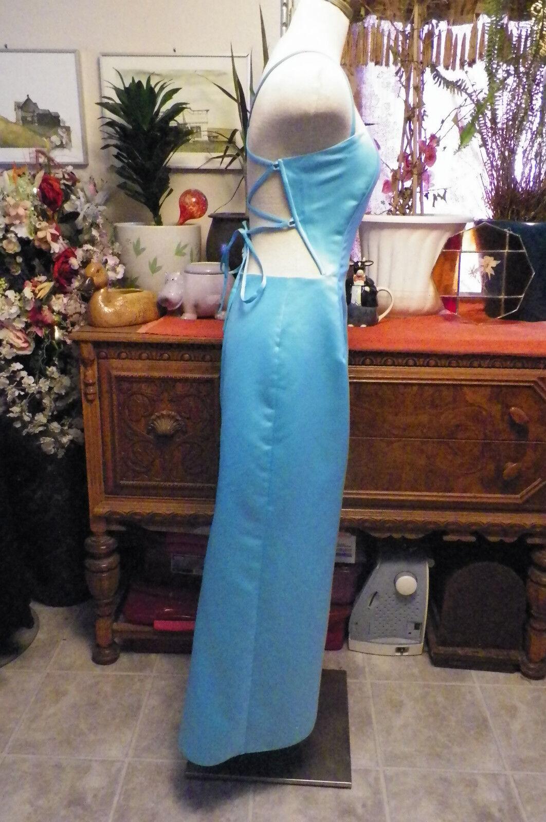 Jessica McClintock Gunne Sax blue satin formal ev… - image 3