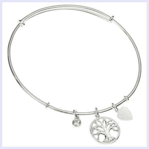 Sterling Silver Tree of Life Dangle Charm avec zircon cristal manchette réglable bracelet