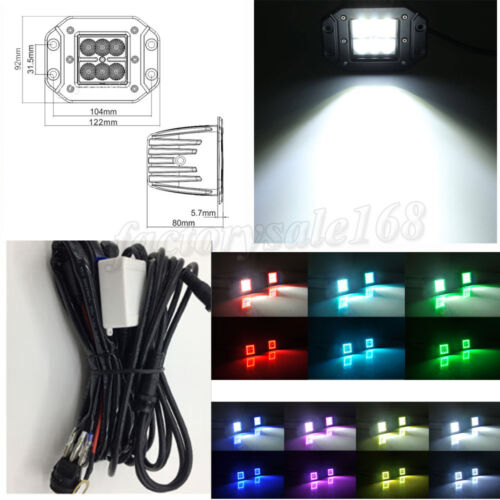 """2x 24W Flush Mount Led Work Light 3/"""" Pods with RGB Halo Ring Bluetooth"""