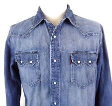 Levis Large Denim Pearl Snap Shirt Modern Slim Fit Western LS Blue Red Tab