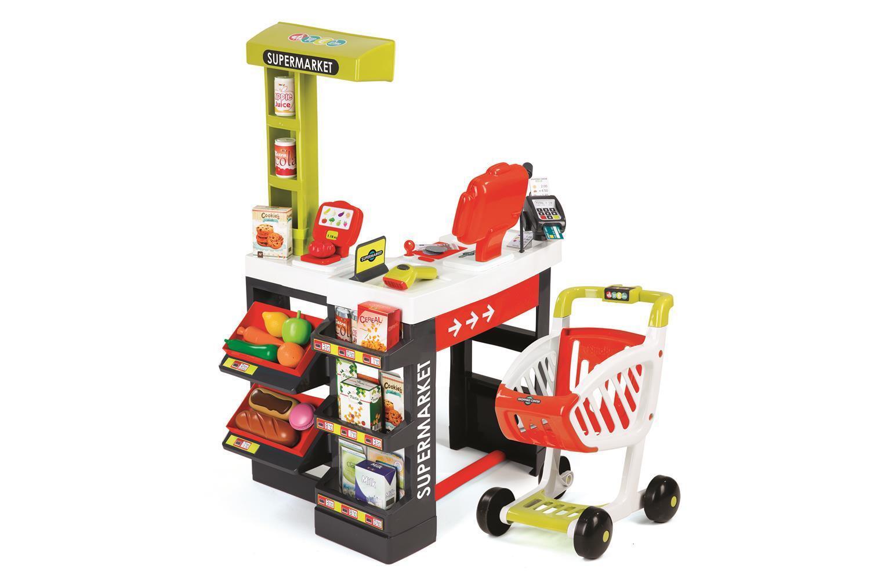 Smoby 7600350210 - Supermarkt, Kaufladen - inkl. Einkaufswagen, Kasse, Zubehör
