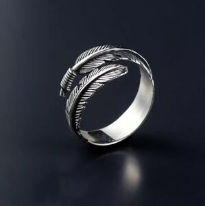 925-Sterlingsilber-Damen-Ring-Feder-Feather-Verstellbar-Thai-Silber-Filigran