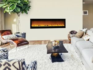 Image Is Loading 72 034 Black Electric Fireplace Easy Mounting Bar