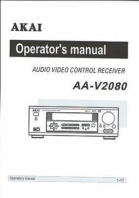 Akai Bedienungsanleitung User Manual Owners Manual Für Aa- V 2080 Copy FüR Schnellen Versand