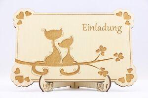 Schön Das Bild Wird Geladen Holz Einladungskarten Laser Graviert Hochzeit  Einladung Holz Katzen