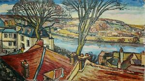 Tableau huile sur panneau paysage signé-Fauvisme