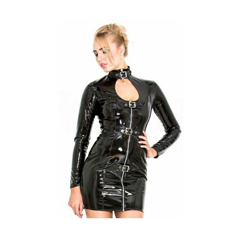 Top Totty Instyle Sexy Woman Open Leather Tight Dress
