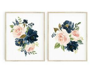Azul Marino Blush Rosa Floral Vivero impresiones Boho Pared Arte Decoración del hogar Juego de 2 623-A