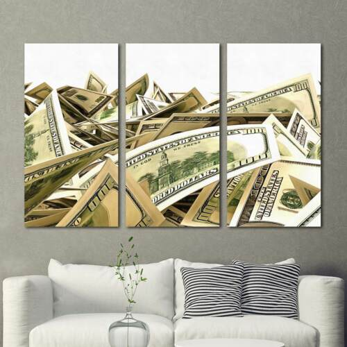 Money Dollars Stacks 3 Piece Canvas Wall Art Picture Painting Home Decor