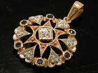 P033 Genuine 9K Rose Gold NATURAL Sapphire & Diamond Pendant Vintage star style