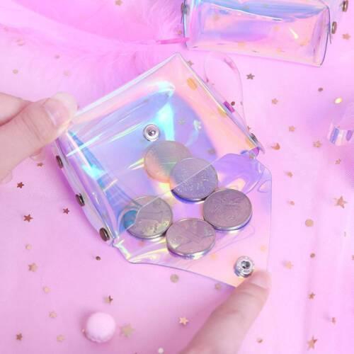 1 Pc Cute PU Jelly Girls Makeup Bag Transparent Laser Bag Mini Coin Purse Bag