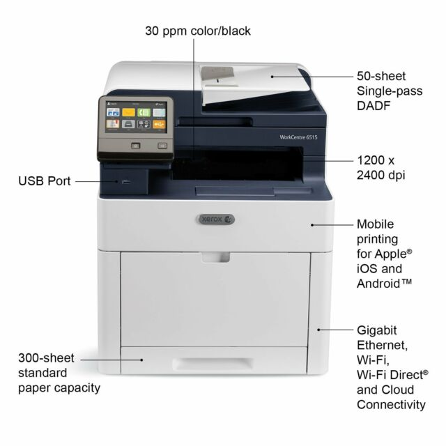 Xerox WorkCentre 6515N 6515/N All-in-One Color Printer - 1 YEAR Xerox  Warranty