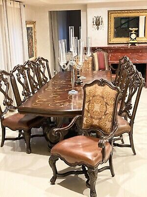 13p Spanish Traditional French Hiend Wood Leather Dining Table Set 12 Chairs Ebay