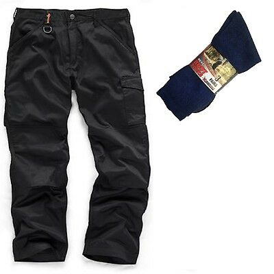 Scruffs Worker Black Multi Pocket Work Trousers & 3 Pairs Of Boot Socks