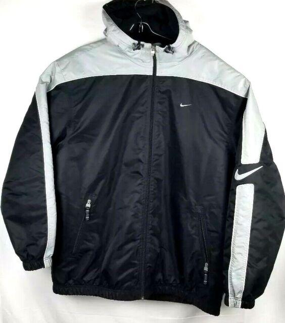 Vintage Nike Men Heavy Hooded Black Grey Zip Up Coat Jacket Size Large L