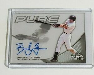 Bradley Zimmer Rookie Auto Indians 2014 Leaf Trinity Pure Clear