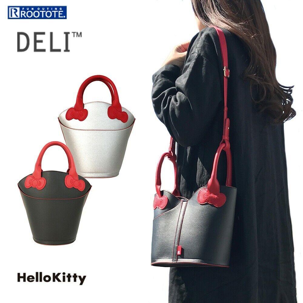 Hello Kitty 2Way Shoulder Bag Tote Purse Handbag Black / Silver Sanrio Japan