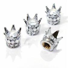 4 Chrome Silver Crown Clear Diamond Bling Tire/Wheel Stem Valve Caps car truck