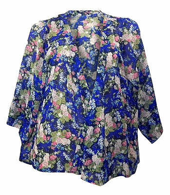 Debenhams Threads Plus Size sheer blue chiffon kimono printed with pink flowers