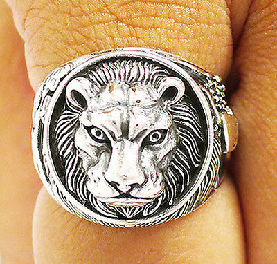 LION KING OF THE JUNGLE WING HEART STERLING 925 SILVER RING Sz 10.5 MEN JEWELRY