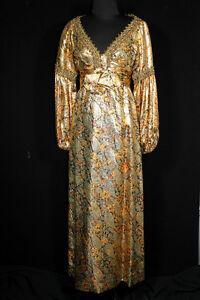 DéVoué Vintage 600ms Long Fait Sur Mesure Cachemire Or Métallique Lamés Robe Taille 2-4