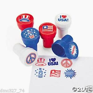 12 4th of july patriotic party favors red white blue mini stampers