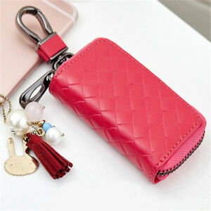 Genuine-Cow-Leather-Woven-Multi-functional-Key-Case-Bag-Keychain-Wallet-Holder