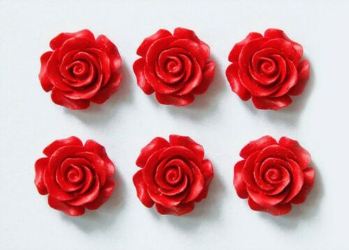 5pcs 15~28mm Red Rose Flower Vermilion Carved Lacquerware Spacer Loose Beads