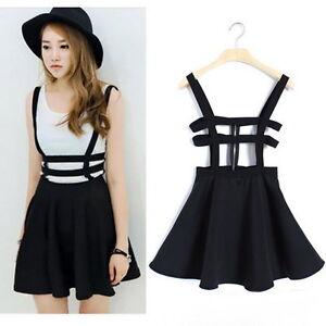 Women-Pleated-Suspender-Skirt-Braces-Hollow-Out-Bandage-Mini-Skater-dress-MK