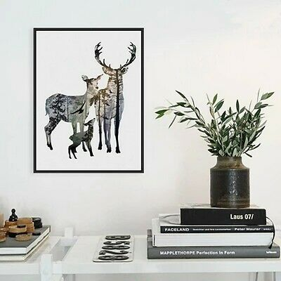 Poster Painting Deer Elk Family Wall Art Minimalist Canvas Animals Home Decor