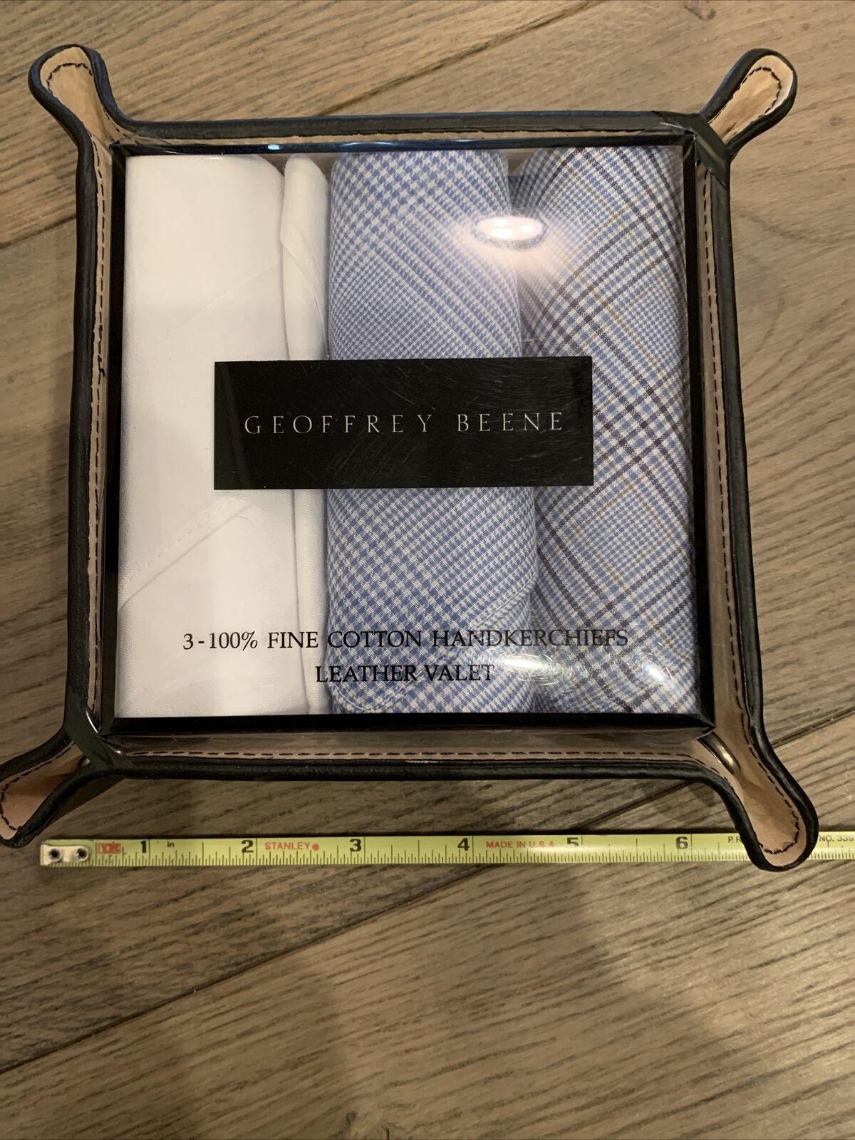Geoffrey Beene Handkerchiefs In Leather Valet New Great Gift 100% Fine Cotton
