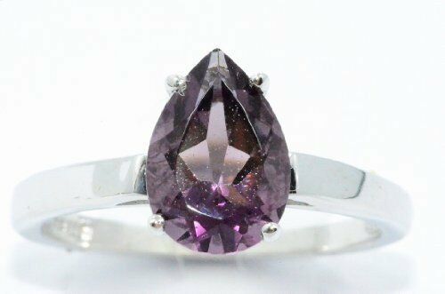2 Ct Amethyst Pear Shape Ring .925 Sterling Silver