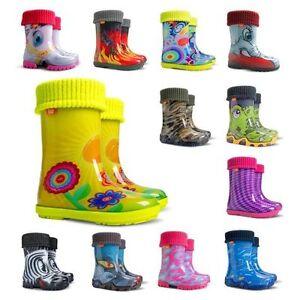 DEMAR Gefüttert Gummistiefel Jungen Kinder Regenstiefel mit Stiefelsocken NEU