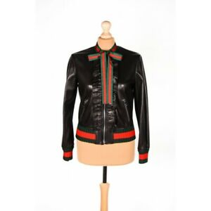 Details about Gucci leather jacket black red women size FR 36 US 4 S