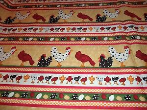 VINTAGE-ROOSTERS-amp-CHICKS-PRINT-FABRIC-14-YARDS-IN-STOCK-BY-THE-YD