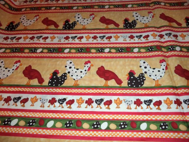 VINTAGE ROOSTERS & CHICKS PRINT FABRIC  - 14 YARDS IN STOCK - BY THE YD