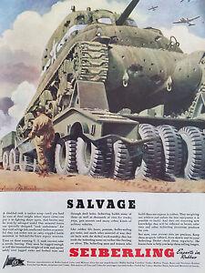 1943 SeiberlingTires WWII Military Tank Frederic Fellender Salvage Original Ad