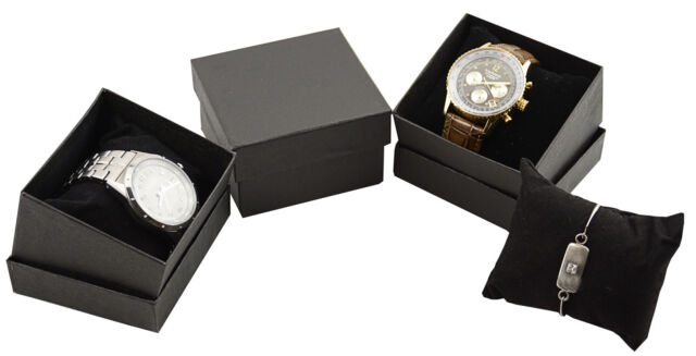 10 High Quality Black Watch Bangle Box Pillow Insert Lift Off Lid 8.5x8.5x5.5cm