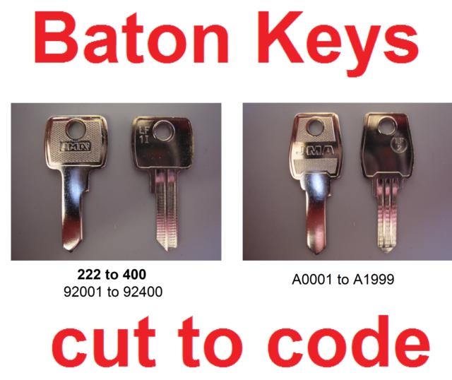 2 x Replacement Baton Keys Cut to Code Filing Cabinets Lockers /& Desks FREE P/&P