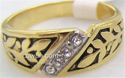 18K GOLD EP .45CT DIAMOND SIMULATED MENS  DRESS RING sz 9 -12 u choose