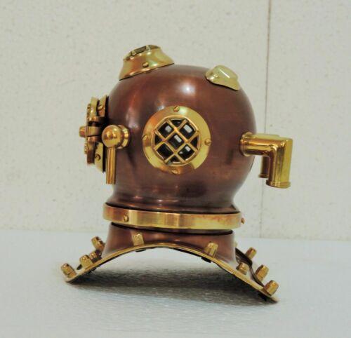 Antique Brass Mini Diving Divers Helmet Vintage US Navy Scuba Model New Gift