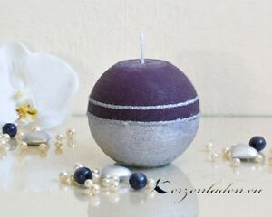 Tischdeko weihnachten lila  Kugelkerze Royal lila/silber 8cm Kerzen Tischdeko Adventskerzen ...