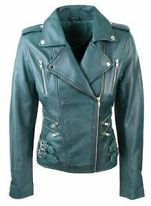 2014a3a57 Details about Womens Ladies Real Soft Leather Racing Style Biker Jacket  Teal Green NEW