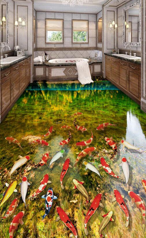 Estanque de peces brillante 3D 5 Papel Pintado Mural Parojo Piso impresión 5D AJ Wallpaper Reino Unido Limón