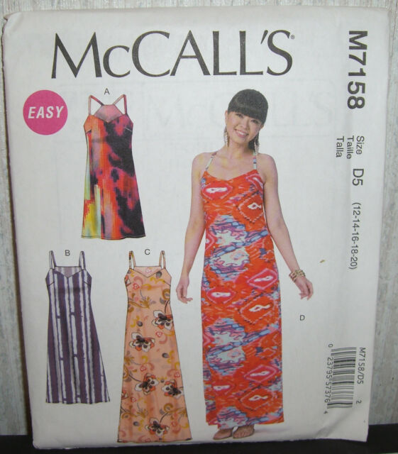 McCalls 7158 Easy Pullover Maxi Boho Dresses Pattern Sizes 12-20 ...