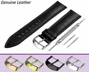 Para Sekonda Negro genuino cuero reloj correa hebilla de banda/Broche 12-24mm
