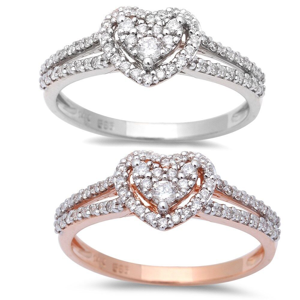 .30ct Heart Shaped Halo Diamond Engagement Wedding Ring 14kt White or pink gold