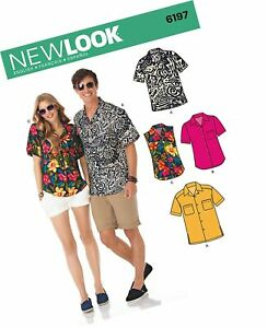 New Look Sewing Pattern 6197 Misses Mens Shirts Size A 8-18 XS-XL