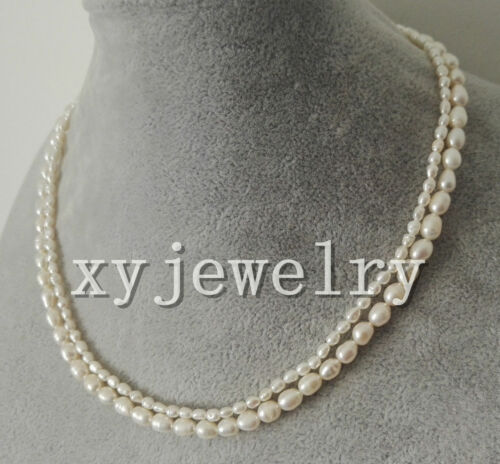 """2 row 2-3mm /& 5-6mm white Baroque rice fresh water pearl wedding necklace 16-17/"""""""