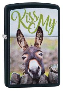 Zippo-Kiss-My-Donkey-Design-Black-Matte-Windproof-Pocket-Lighter-29868
